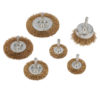 Brassed Steel Wire Wheel and Cup Brush Set 6pce